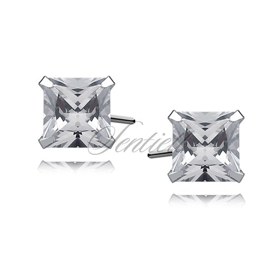 Silver (925) earrings white zirconia 6 x 6mm square