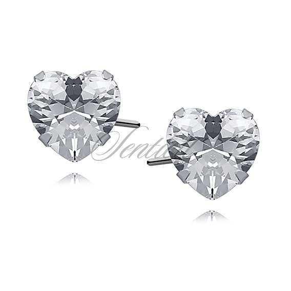 Silver (925) earrings white zirconia 7 x 7mm hearts