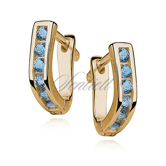 Silver (925) earrings with aquamarine zirconia, gold-plated