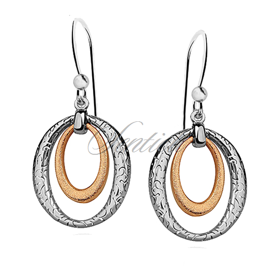 Silver (925) earrings with gold-plated element and pattern