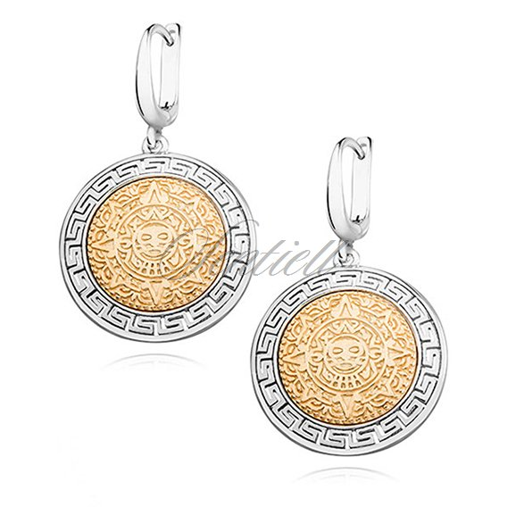 Silver (925) earrings with gold-plated mayan calendar