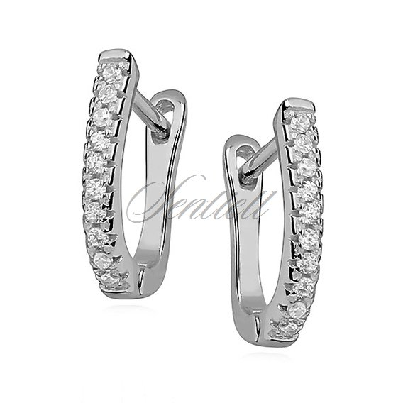 Silver (925) earrings with one row of white zirconia