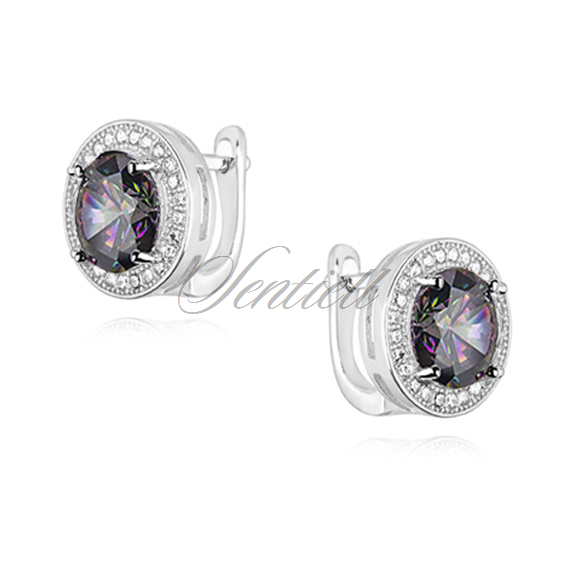 Silver (925) earrings with round multicolor zirconia