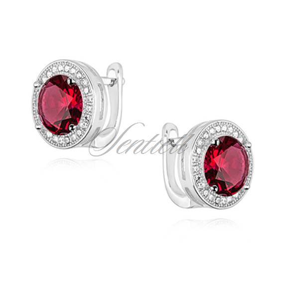 Silver (925) earrings with round ruby zirconia