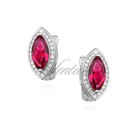 Silver (925) earrings with ruby zirconia