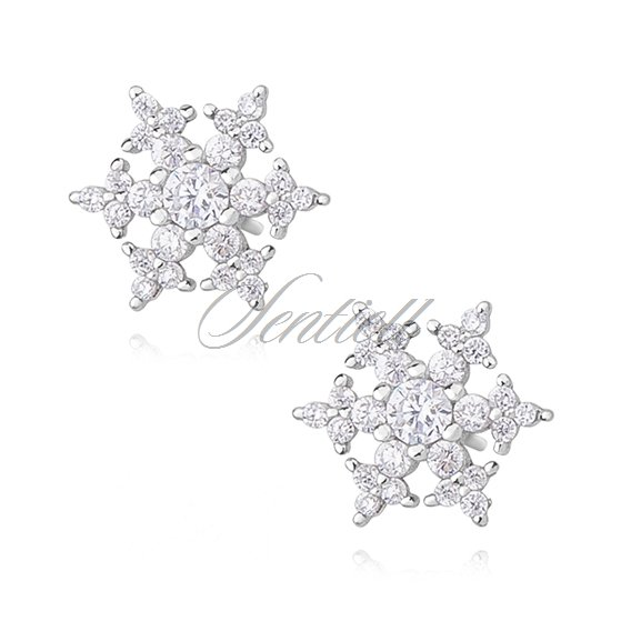 Silver (925) earrings with white zirconia - snow flakes