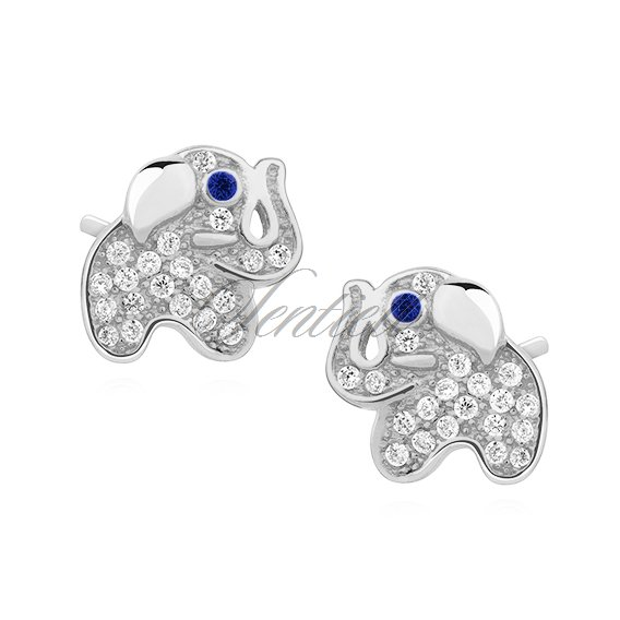 Silver (925) earrings with zirconia - elephants with sapphire eyes