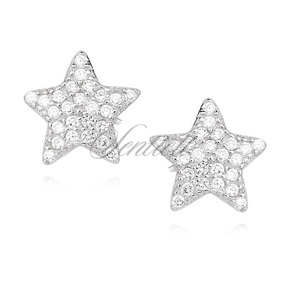 Silver (925) earrings with zirconia - stars