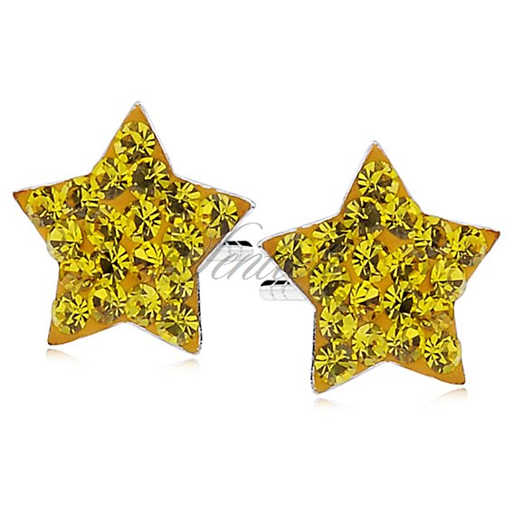 Silver (925) earrings yellow stars