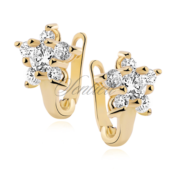 Silver (925) earrings zirconia flower gold plated