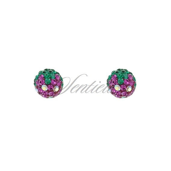 Silver (925) earrings zirconia fuschia & green
