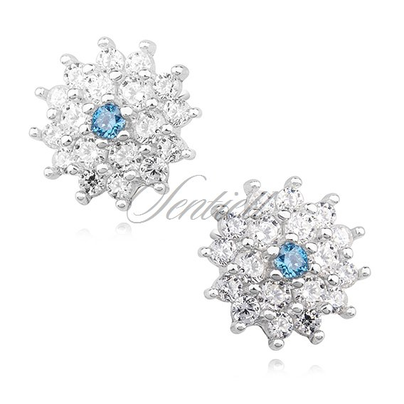 Silver (925) elegant earrings - flowers with aquamarine zirconia