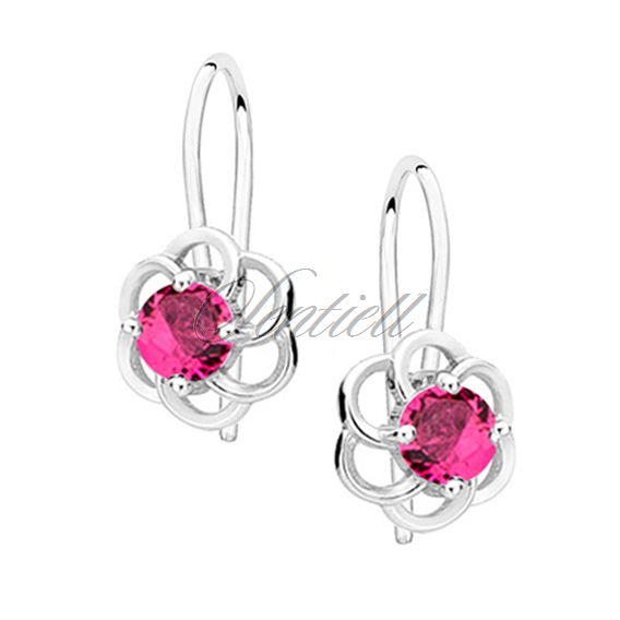Silver (925) elegant earrings - flowers with ruby zirconia