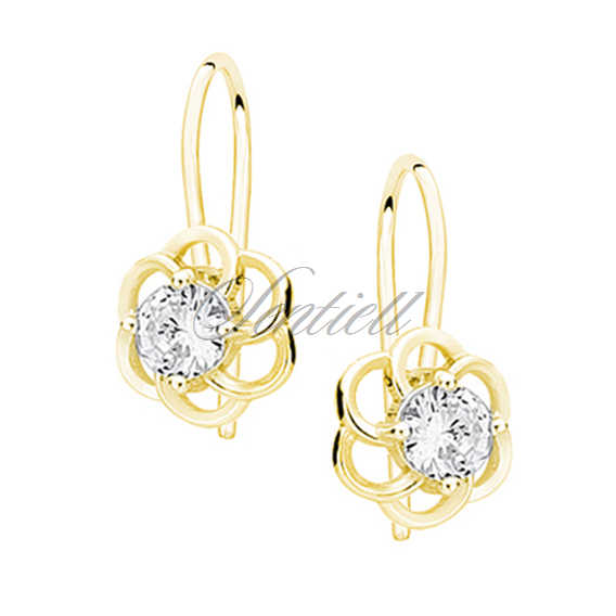 Silver (925) elegant earrings - gold-plated flowers with zirconia