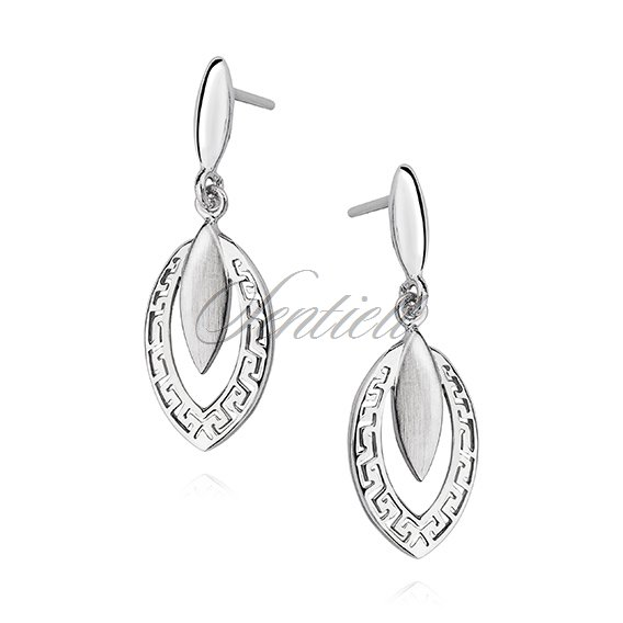 Silver (925) elegant earrings greek pattern