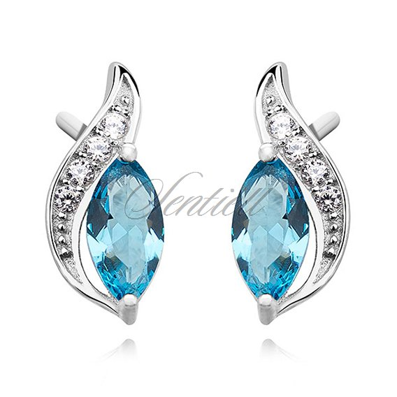 Silver (925) elegant earrings with aquamarine marquoise zirconia