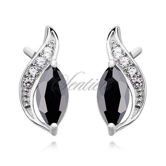 Silver (925) elegant earrings with black marquoise zirconia