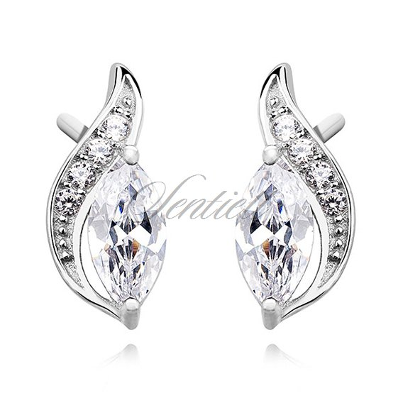 Silver (925) elegant earrings with white marquoise zirconia