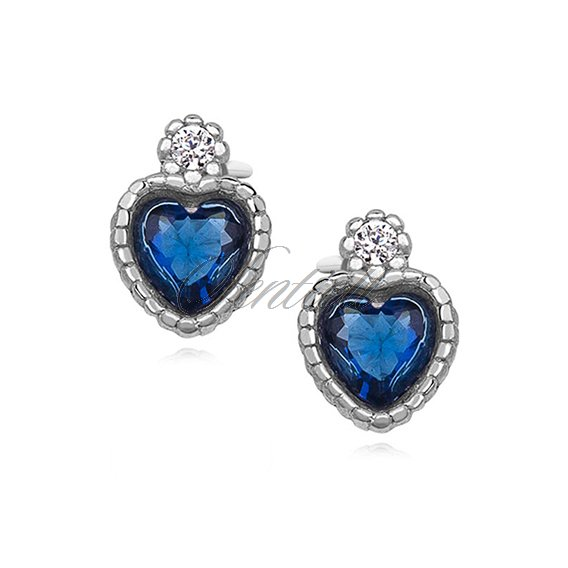 Silver (925) elegant heart earrings with sapphire zirconia