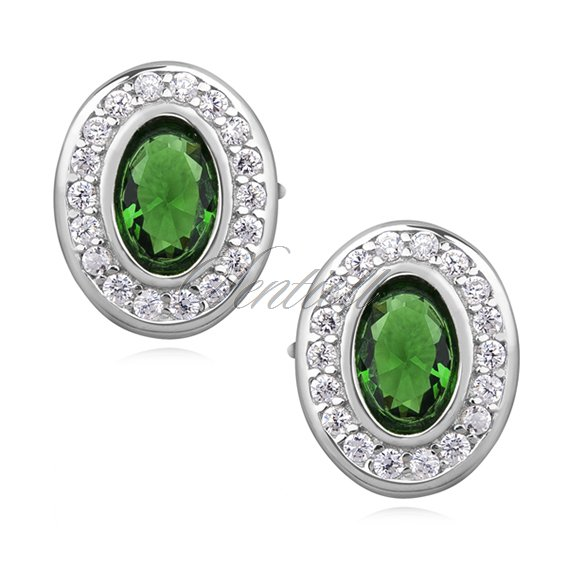 Silver (925) elegant oval earrings with emerald zirconia