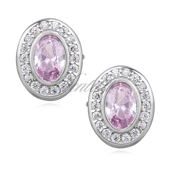 Silver (925) elegant oval earrings with light pink zirconia