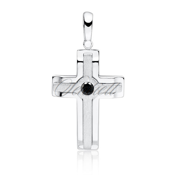 Silver (925) elegant pendant cross with black zirconia