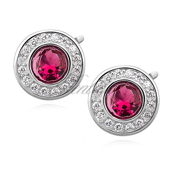 Silver (925) elegant round earrings with ruby zirconia
