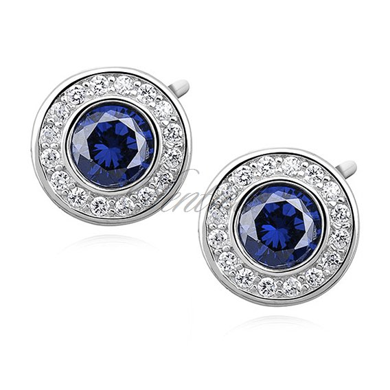 Silver (925) elegant round earrings with sapphire zirconia