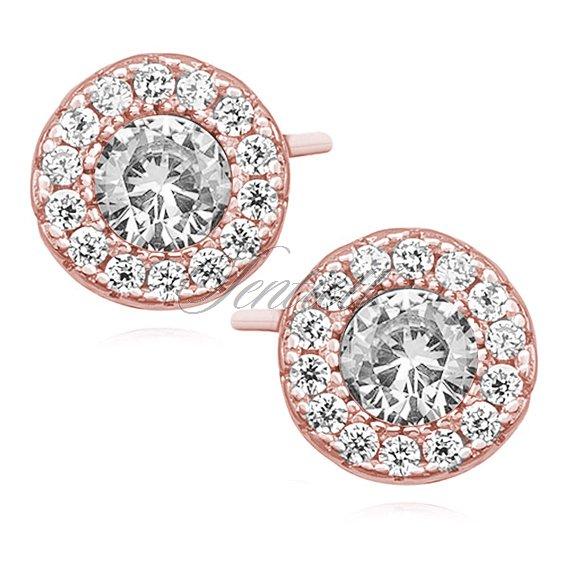 Silver (925) elegant round earrings with zirconia, rose gold