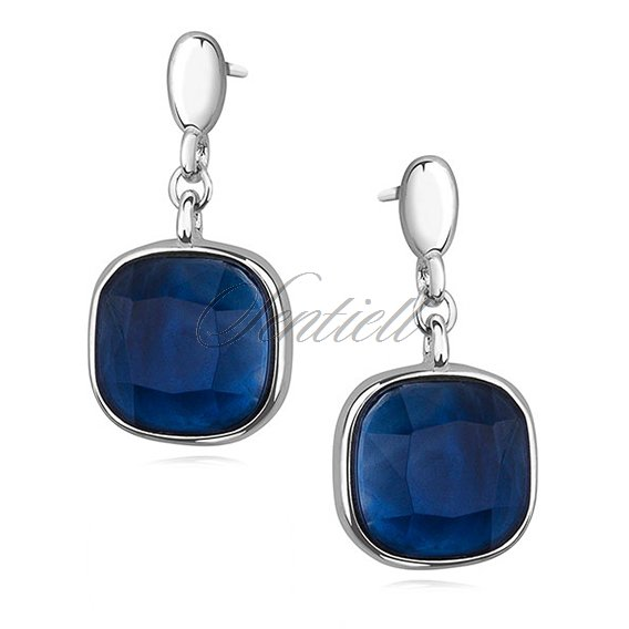 Silver (925) elegant square earrings with sapphire zirconia
