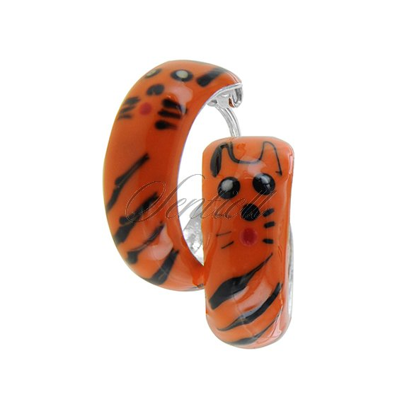 Silver (925) enamelled hoop earrings orange tiger, riveted