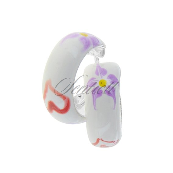 Silver (925) enamelled hoop earrings white with violet flowers, riveted