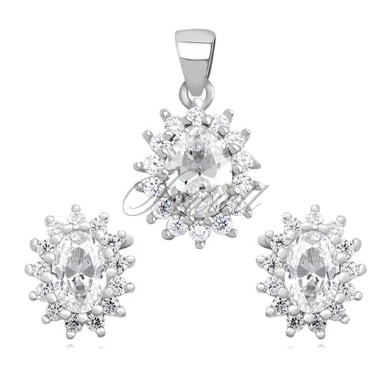 Silver (925) fashionable jewelry set with zirconia