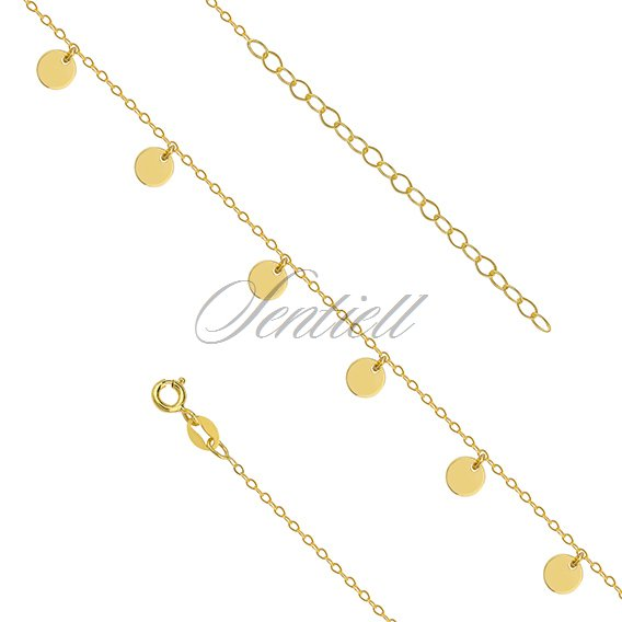 Silver (925) gold-plated anklet - adjustable size with round pendants