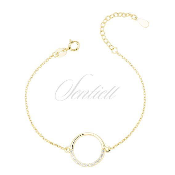 Silver (925) gold - plated bracelet - cirlce with zirconia