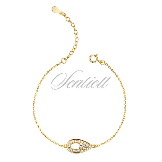Silver (925) gold-plated bracelet - teardrop with zirconia