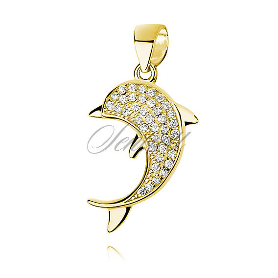 Silver (925) gold-plated dolphin pendant with zirconia