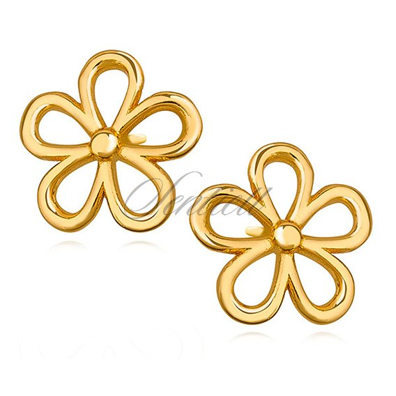 Silver (925) gold-plated earrings flower