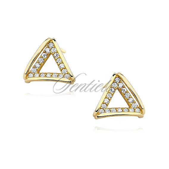 Silver (925) gold-plated earrings - triangle with zirconia