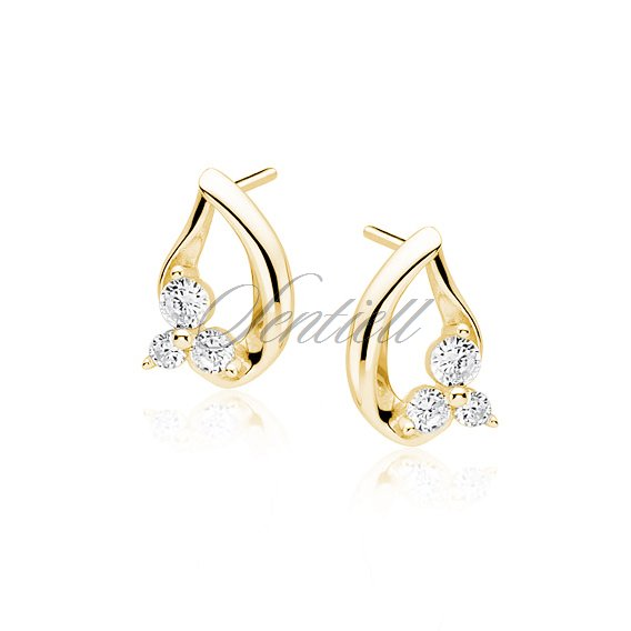 Silver (925) gold-plated earrings with white zirconia - flowers