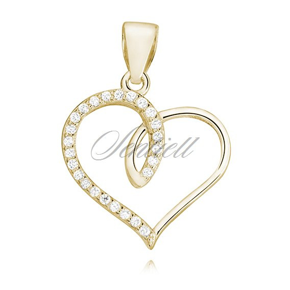 Silver (925) gold-plated heart pendant with zirconia