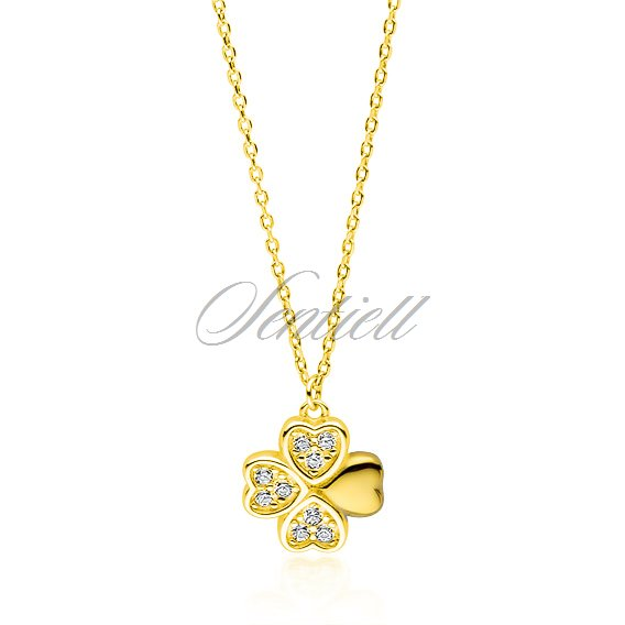 Silver (925) gold-plated necklace - clover pendant with zirconia