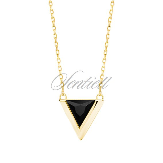 Silver (925) gold-plated necklace - triangle with black zirconia