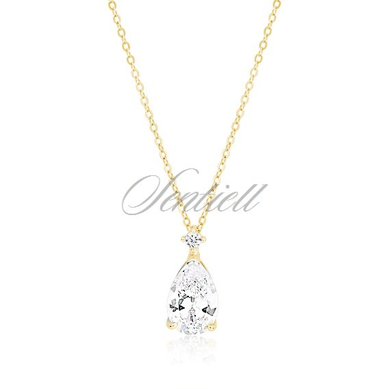 Silver (925) gold-plated necklace with white zirconia - teardrop