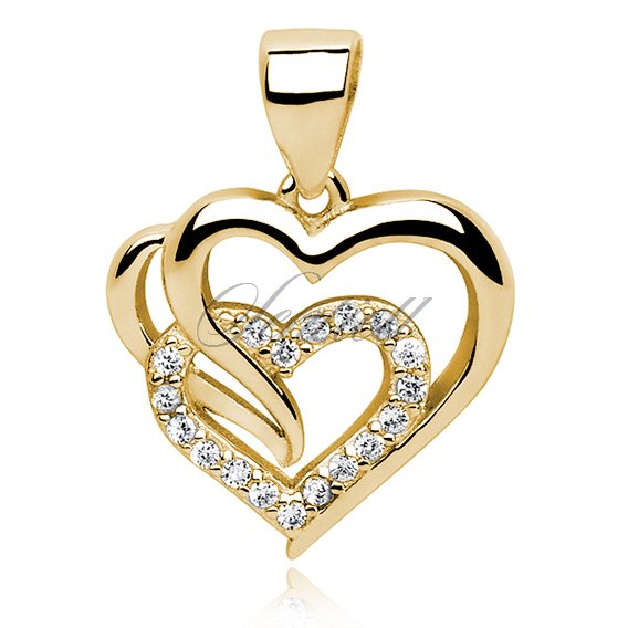 Silver (925) gold-plated triple heart pendant with white zirconia