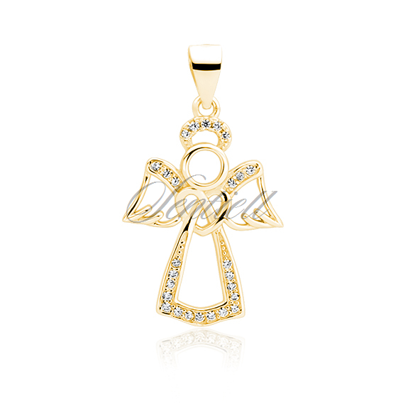 Silver (925) gold-plated pendant with zirconia - angel