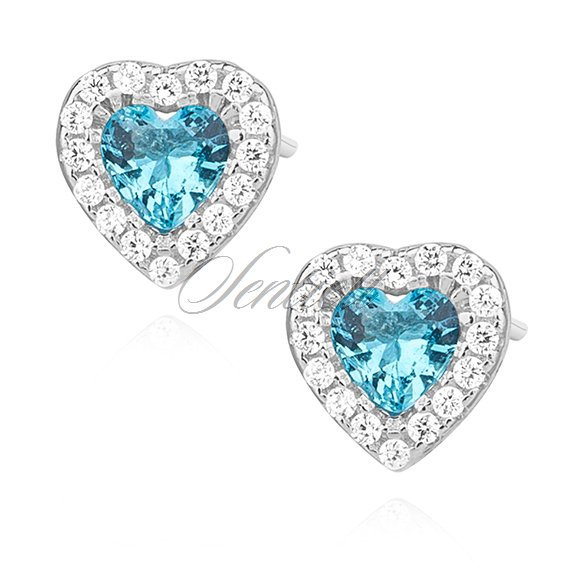 Silver (925) heart earrings with aquamarine zirconia