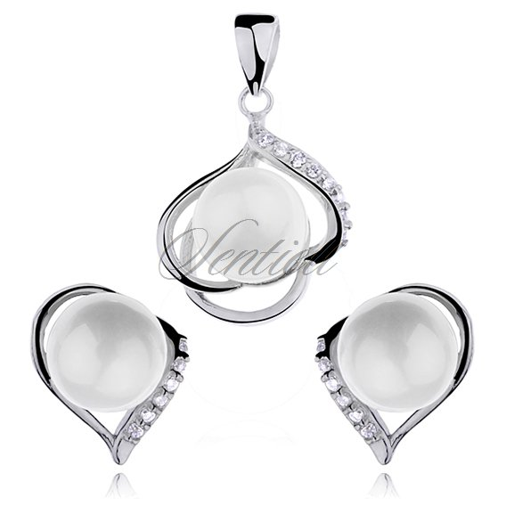 Silver (925) jewellery set pearls and zirconia