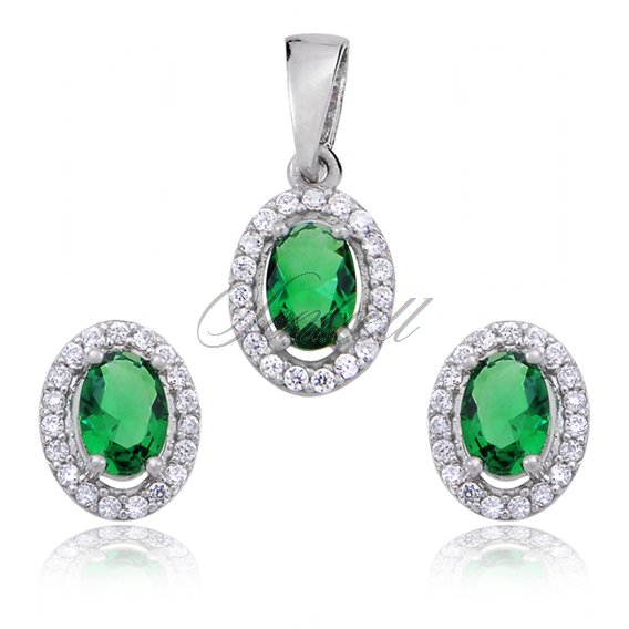 Silver (925) jewelry set green & white zirconia