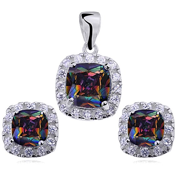Silver (925) jewelry set multicolored zirconia rounded square